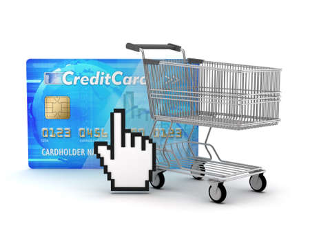Internet shopping - shopping cart, credit card and cursor hand Stock Photo - 17980867