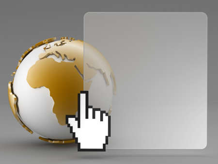 Abstract background - earth globe and cursor hand Stock Photo - 17980849