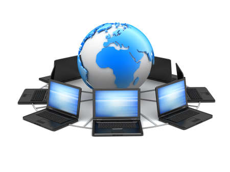 Laptops and earth globe - computer network photo