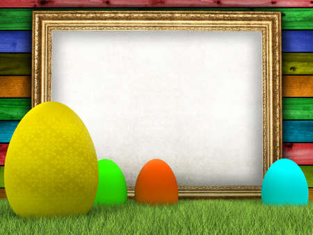 Easter eggs and blank sheet in picture frame