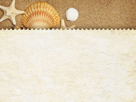 Summer background - blank paper sheet on sand photo