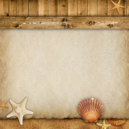 Summer background - paper sheet, planks, sand and shells photo