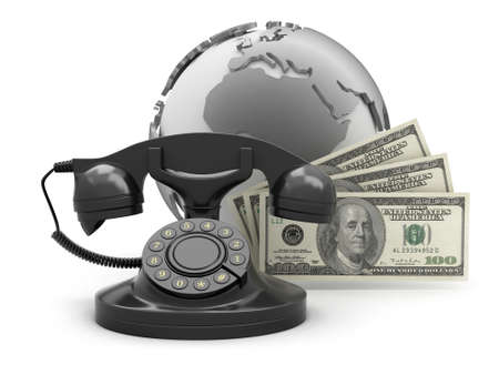 Dollar bills, rotary phone and earth globe photo