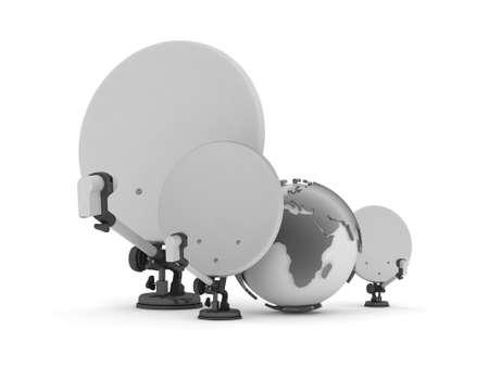 feeler: Satellite antenna and earth globe Stock Photo