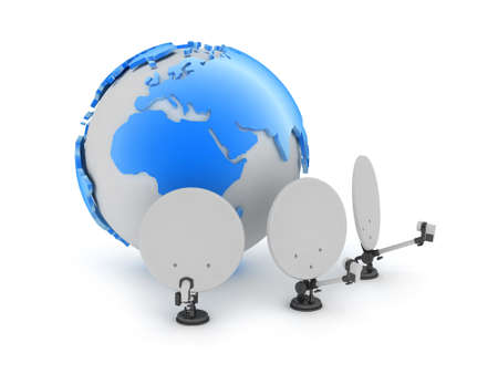 Satellite antenna and earth globe Stock Photo - 21943538