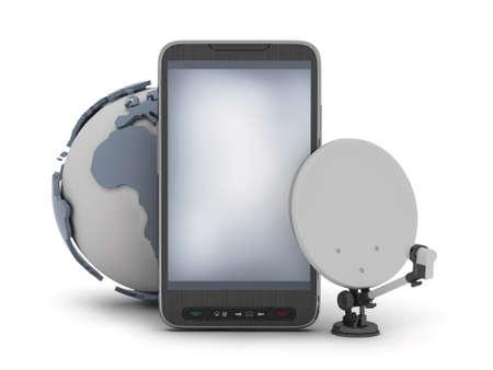 feeler: Mobile phone, earth globe and satellite