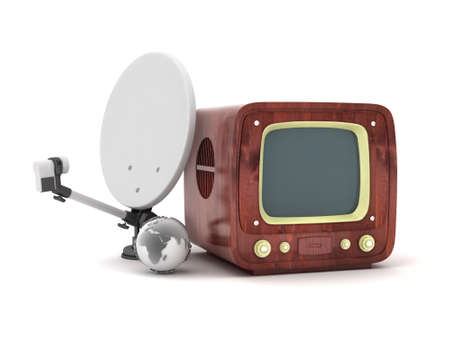 Retro tv and modern satellite on white background photo