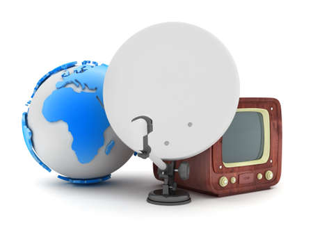 Earth globe, satellite and retro tv photo