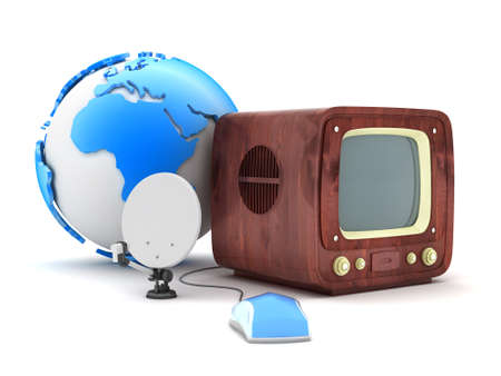 Retro tv, computer mouse and satellite  photo