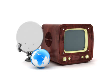 Retro tv, satellite and earth globe isolated on white photo