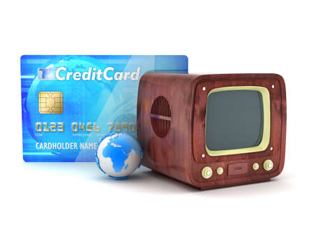Retro tv, credit card and earth globe photo