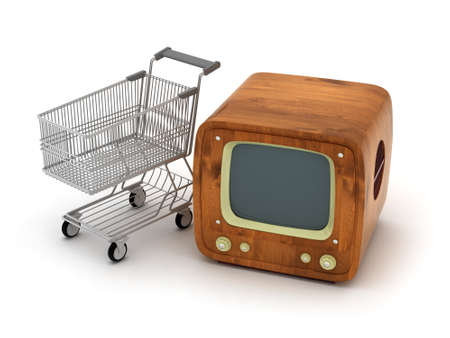 Shopping cart and retro tv photo