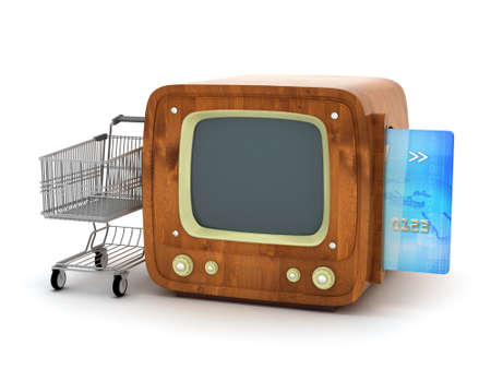 TV shopping - retro tv, credit card and shopping cart photo
