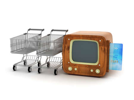 Shopping cart, credit card and retro tv on white background photo