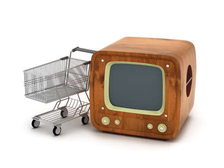 TV Shopping - retro television and shopping cart photo