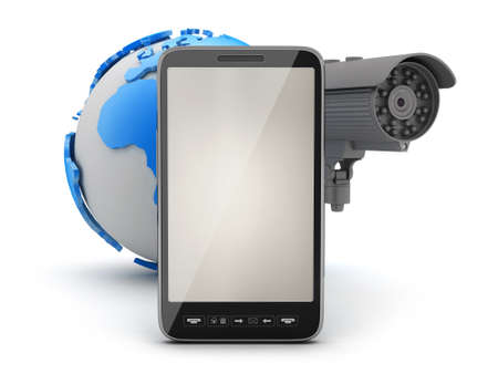 Security camera, cell phone and earth globe Stock Photo