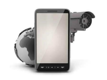 cmos: Security cam, earth globe and cell phone Stock Photo