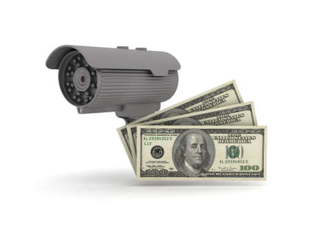 Security cam and dollars isolated on white photo
