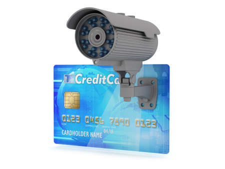 Safe money concept illustration; security camera and credit card illustration