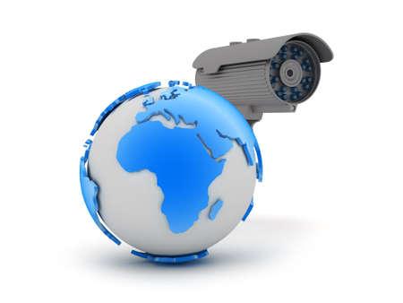 Video surveillance camera and earth globe