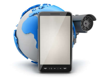 mobile security: Video surveillance camera, mobile phone and earth globe Stock Photo