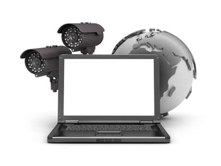 video surveillance: Security cameras, laptop and earth globe Stock Photo