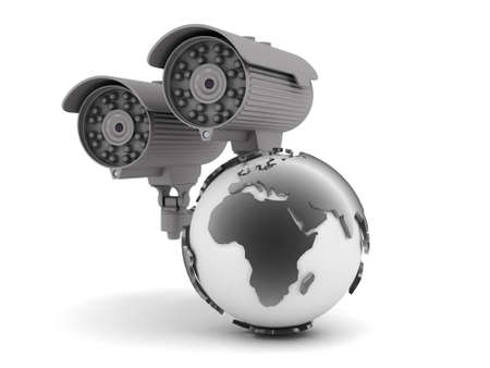 Security cameras and earth globe Stock Photo - 22680562