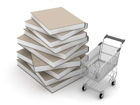 Stack of books and shopping cart photo