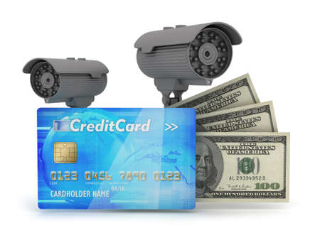 Two surveillance cameras, credit card and dollar bills photo