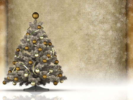 Christmas background - christmas tree and blank paper sheet photo