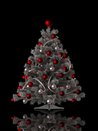 Christmas tree on black background photo
