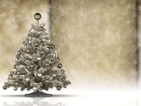 Christmas card - christmas tree and blank handmade paper sheet photo