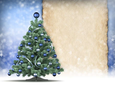 Christmas card template - xmas tree and paper sheet photo