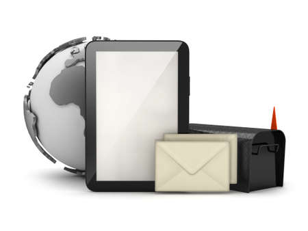 Tablet computer, mailbox and envelopes photo