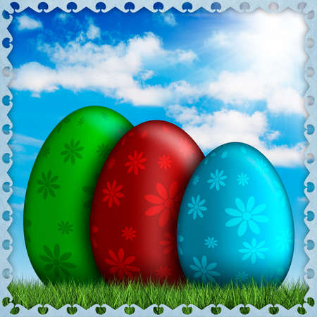 Colored Easter eggs on sky background photo