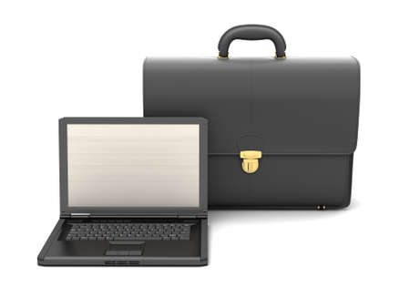 luggage carrier: Black business briefcase and laptop Stock Photo