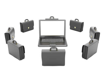 Laptop and business briefcases on white background photo