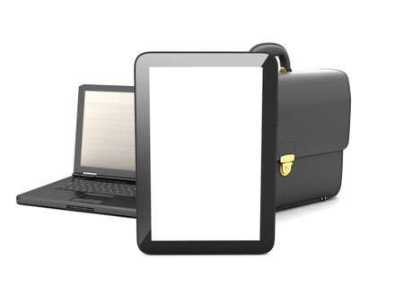 black briefcase: Tablet PC, el ordenador port�til y el malet�n negro Foto de archivo