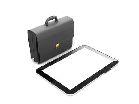 palmtop: Tablet computer and black leather briefcase