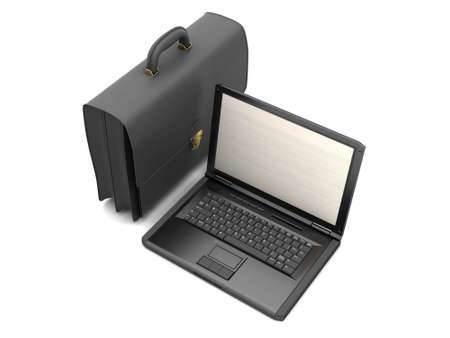 luggage carrier: Business symbols - laptop and briefcase