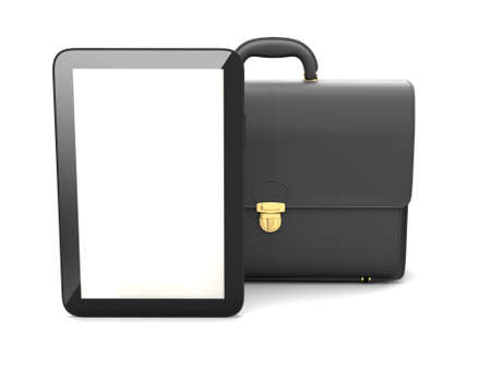 black briefcase: Tablet computer and black briefcase Stock Photo