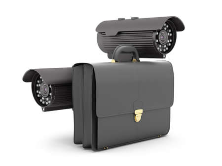 luggage carrier: Two security cameras and business briefcase on white background