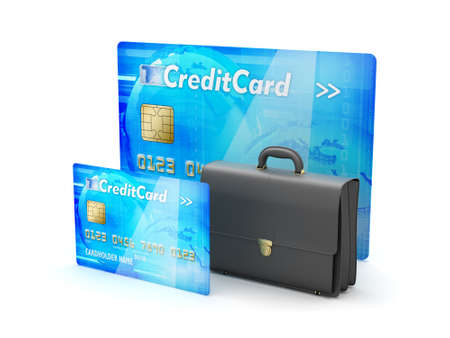 Two credit cards and business briefcase - concept illustration Stock Illustration - 25905314
