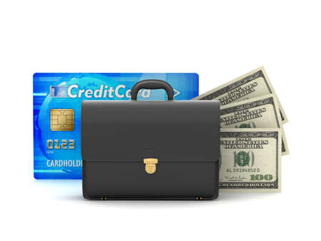 Business briefcase, dollar bills and credit card photo