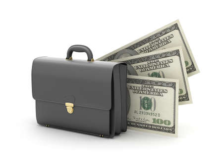 Black business briefcase and dollar bills photo