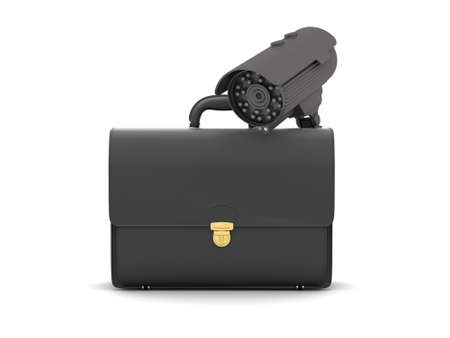 Business briefcase and video surveillance camera photo