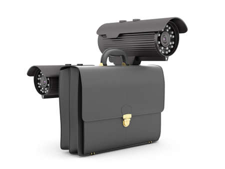 Two surveillance video cameras and business briefcase photo