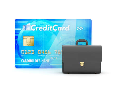 Leather briefcase and credit card on white background photo