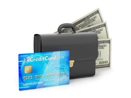 Business briefcase, credit card and dollar bills on white background photo