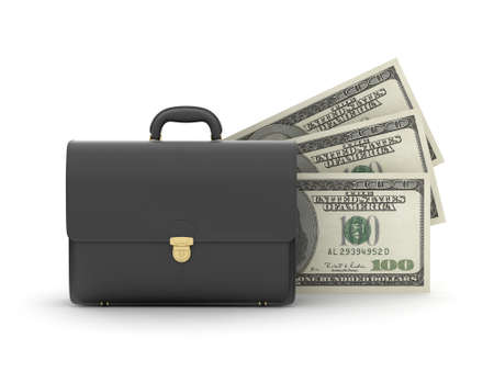 Leather business briefcase and money photo